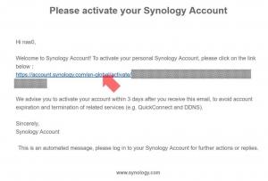 Synologyからのメール