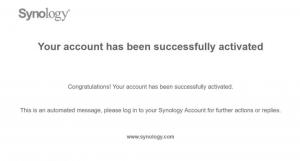 SynologyAccountアクティベーション完了メール