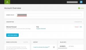 Akismet API Keyをコピー||Akismet Anti-Spamプラグイン