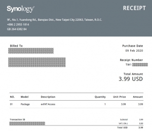 Synologyからの領収書|exFAT Accessを使う~DiskStation DS218j